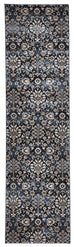 Izmir Dark Blue Intricate Floral Turkish Floor Runner Rug