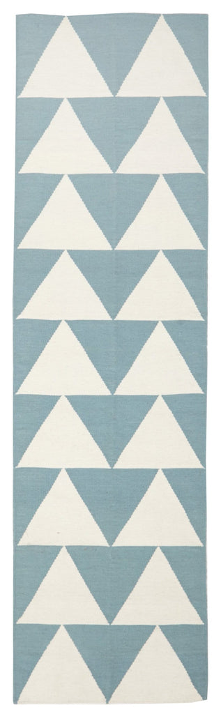 Åland Light Blue & White Triangle Flatweave Runner Rug