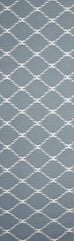 Montpellier Powder Blue Lattice Flatweave Runner Rug