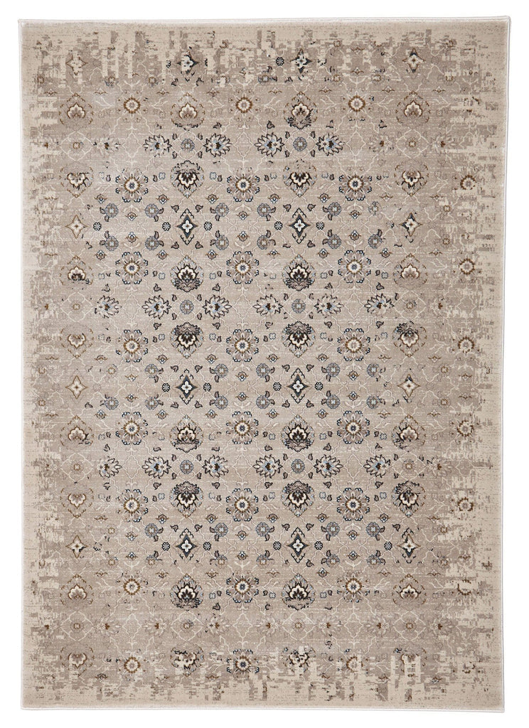 Alanya Ivory Faded Floral Motif Rug