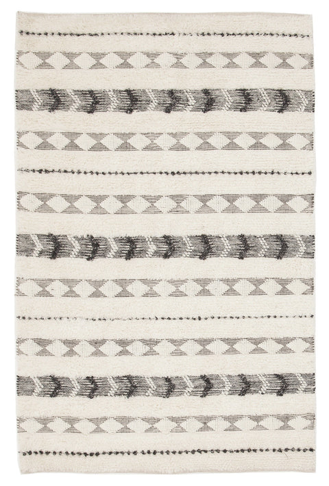 Pokhara Ivory & Brown Grey Tribal Rug