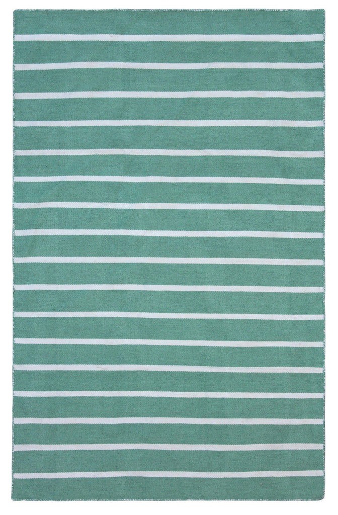 Kos Aqua Green & White Pinstripe Indoor Outdoor Rug