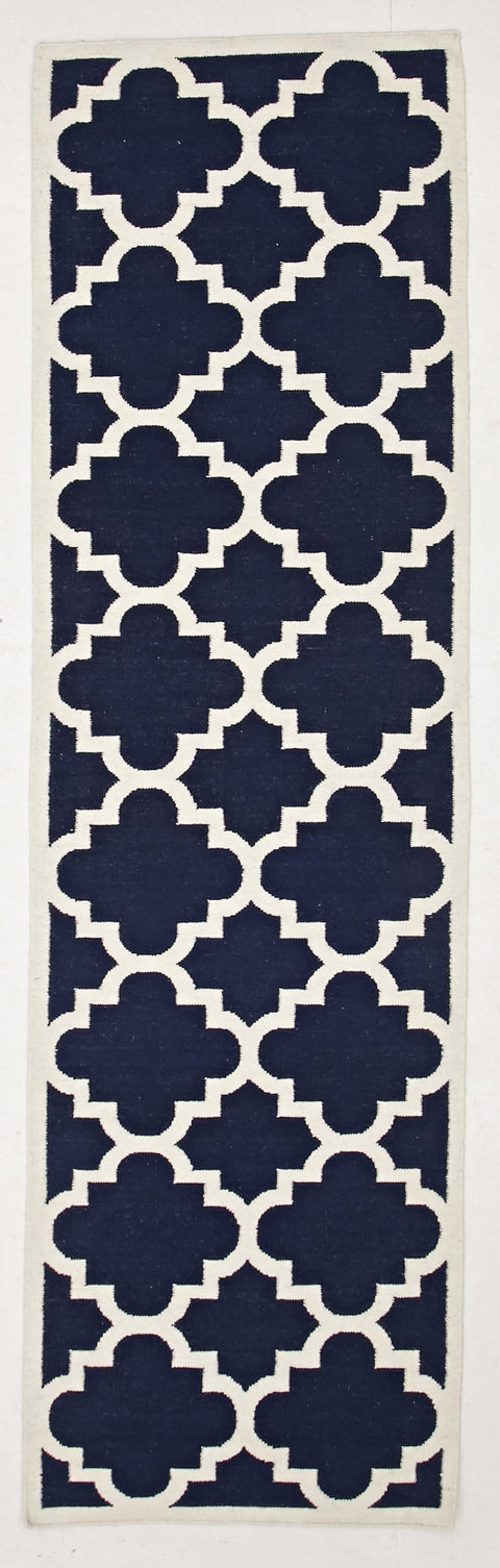 Biarritz Navy Blue Lattice Flatweave Runner Rug