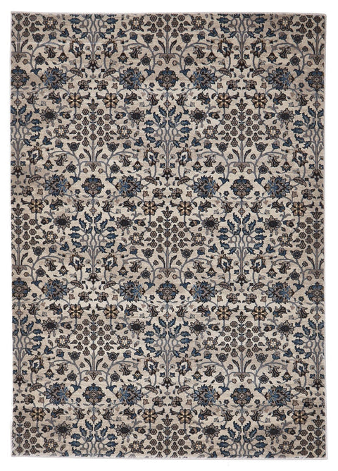 Bursa Ivory & Blue Intricate Floral Turkish Rug