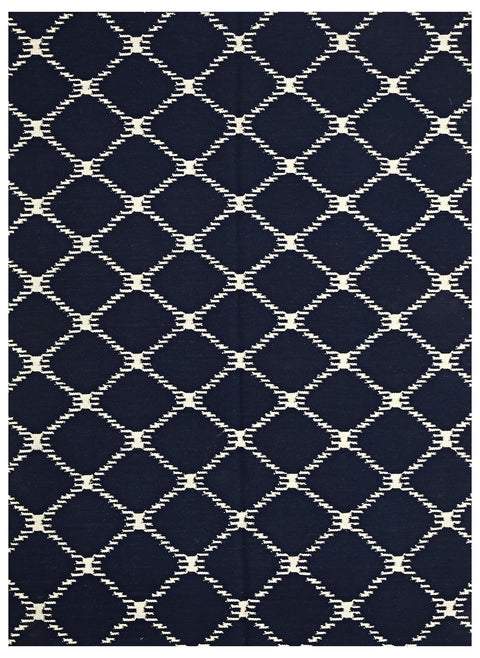 Marseille Navy Lattice Flatweave Rug