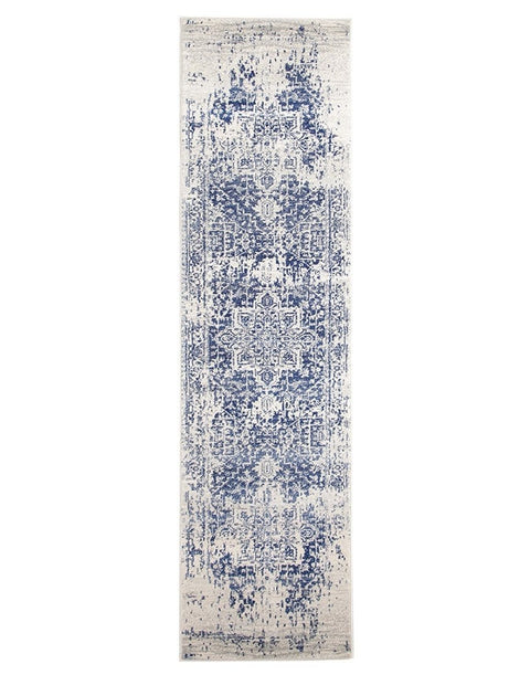 Alta Ivory & Cobalt Blue Distressed Runner Rug