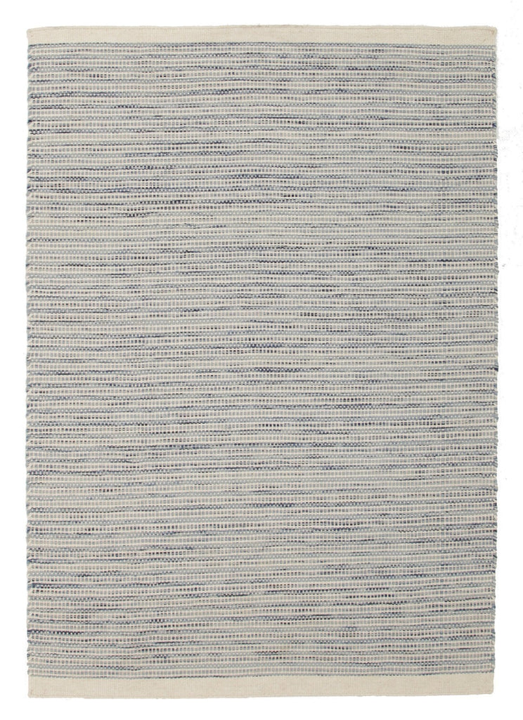 Madras Blue & Cream Wool Striped Rug