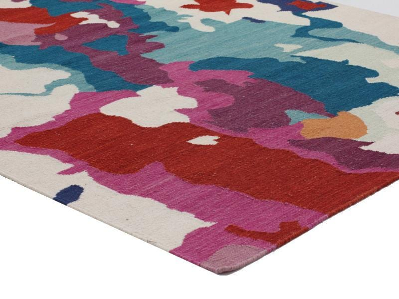 Holi Multi Colour Splash Wool Kilim Rug