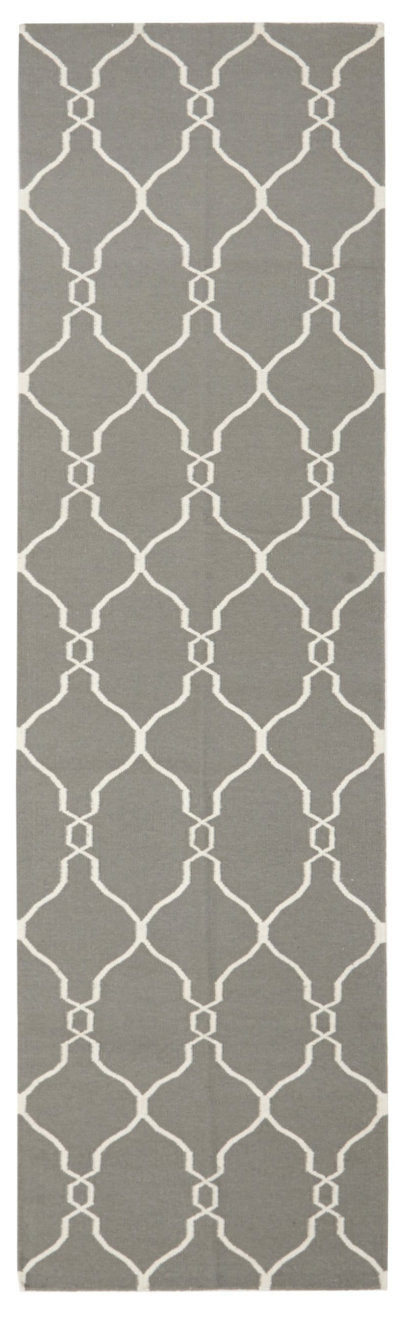 Chemillé Grey Lattice Wool Runner Rug