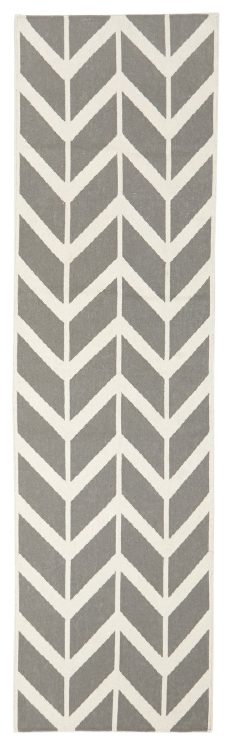 Bodø Grey Arrow Wool Runner Rug
