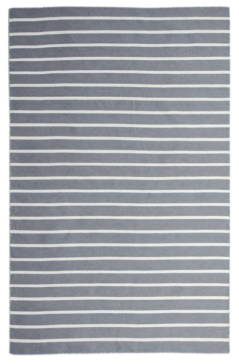 Patmos Grey & White Pinstripe Indoor Outdoor Rug