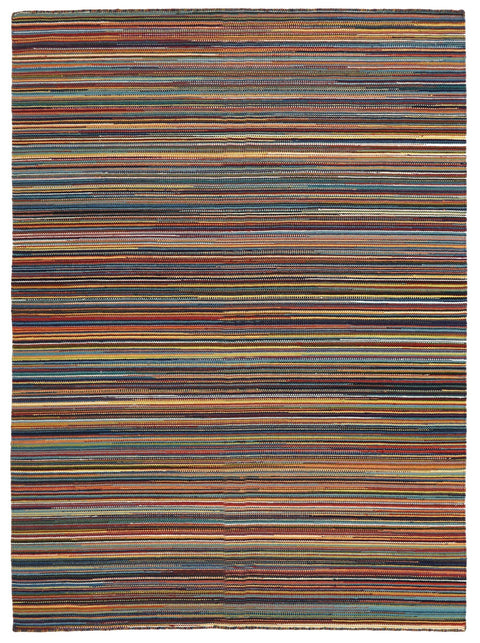 Kathmandu Multi-Colour Striped Wool Kilim Rug