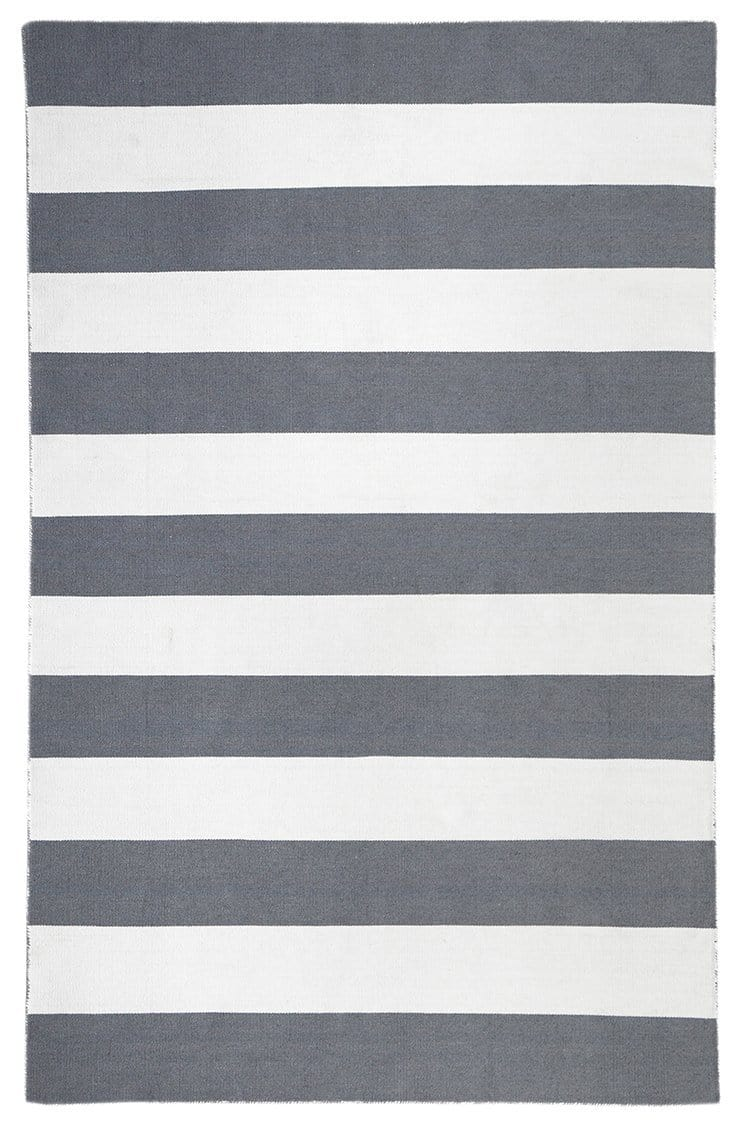 Paros Grey & White Stripe Indoor Outdoor Rug
