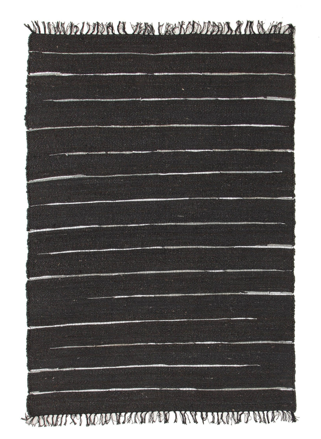 Nubra Black Jute & Silver Metallic Leather Rug