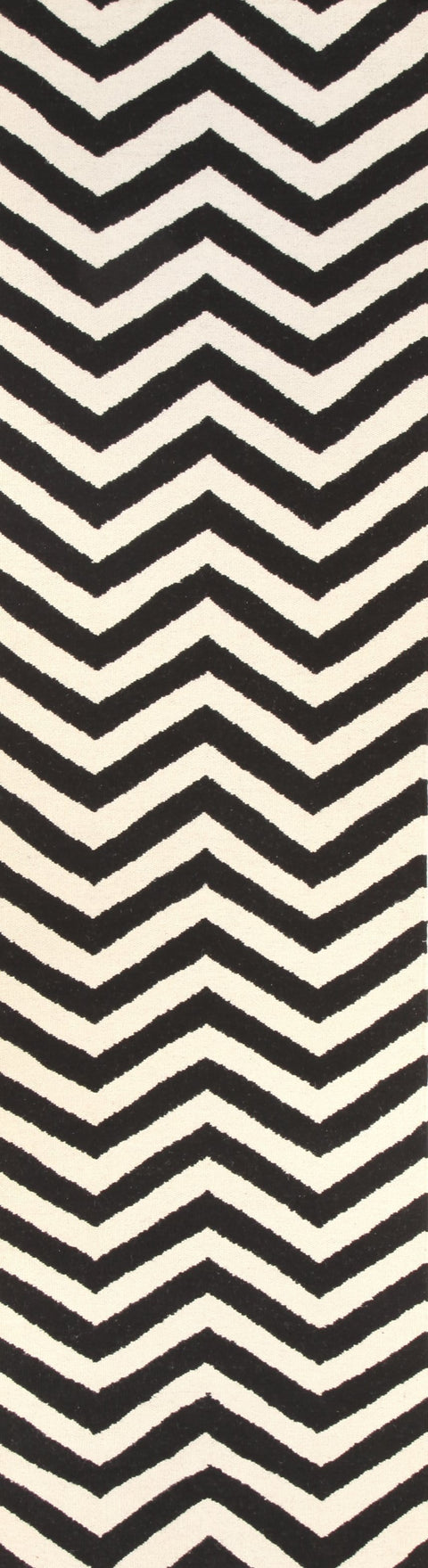 Cairo Black & White Chevron Flatweave Runner Rug