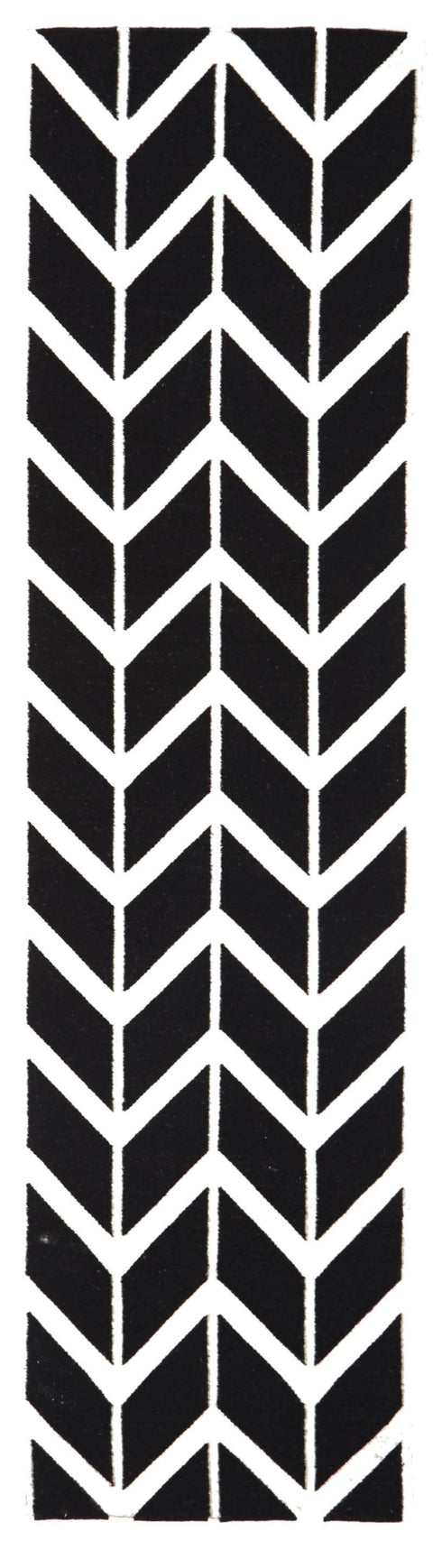 Svalbard Black & White Arrow Wool Runner Rug