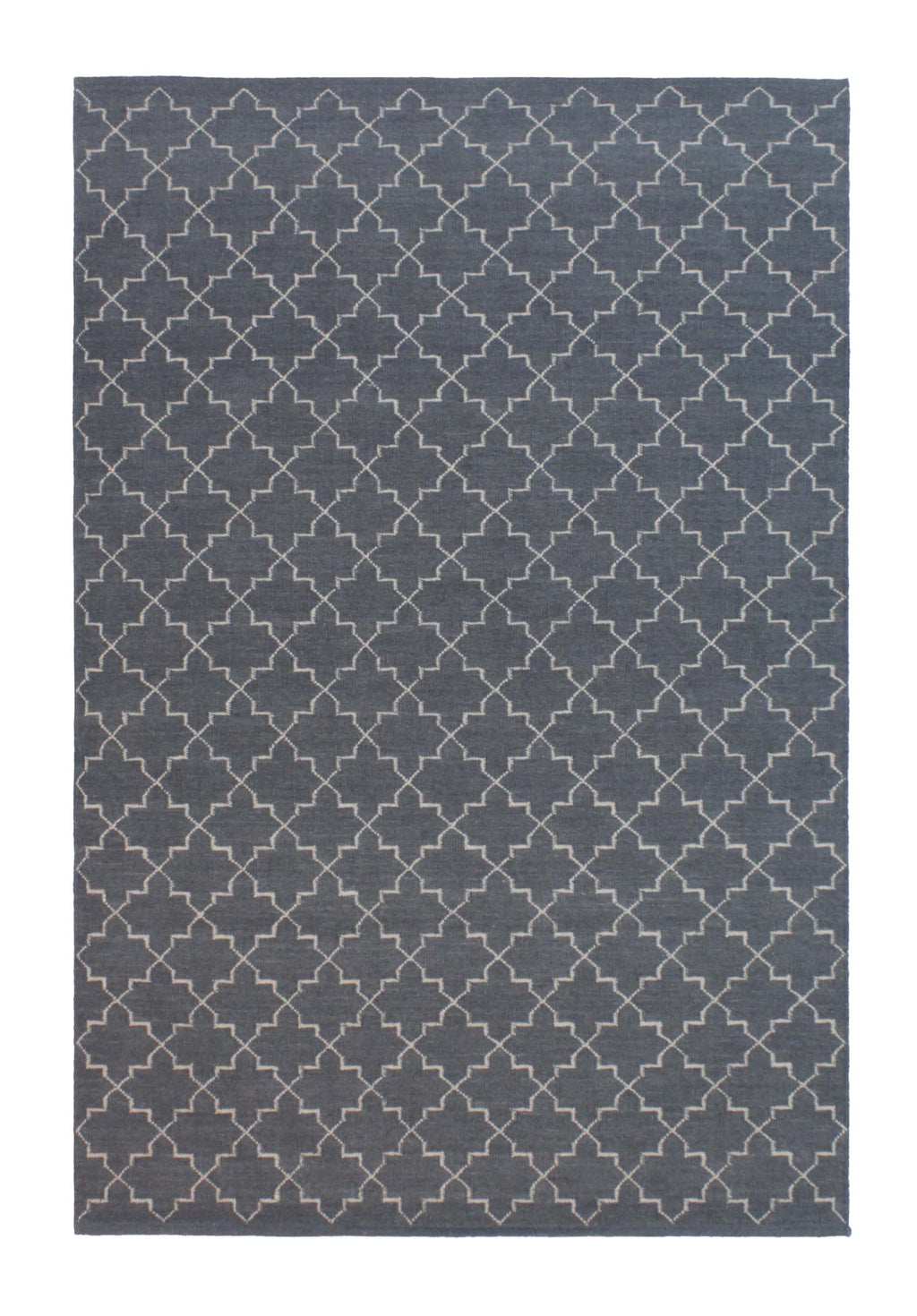 aza Grey Moroccan Lattice Wool Rug