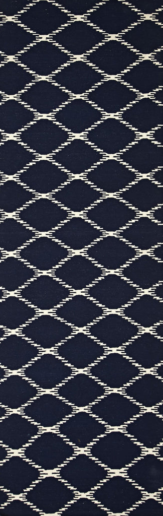 Marseille Navy Lattice Flatweave Runner