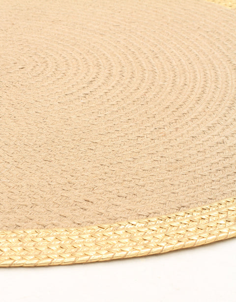 Dallas Braided Jute & Gold Leather Rug
