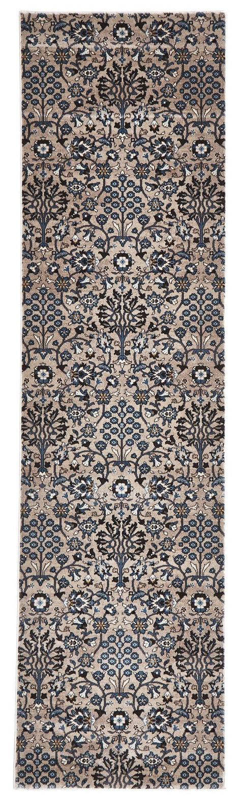Mersin Beige & Blue Intricate Floral Turkish Runner Rug