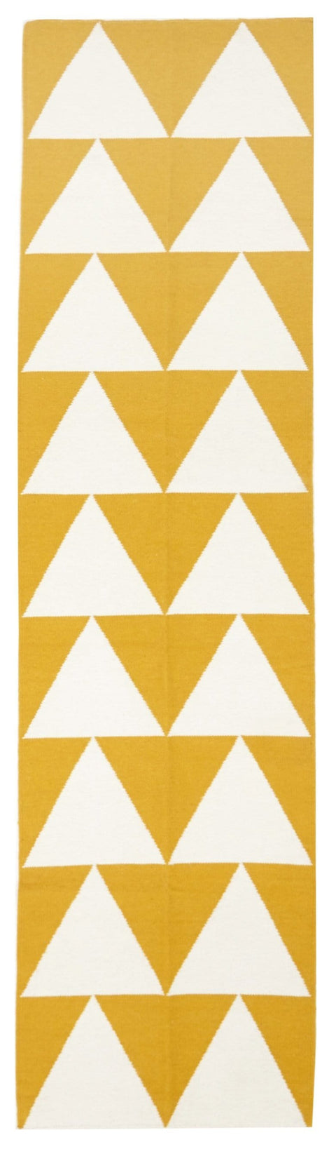 Oulu Yellow & White Triangle Flatweave Runner Rug