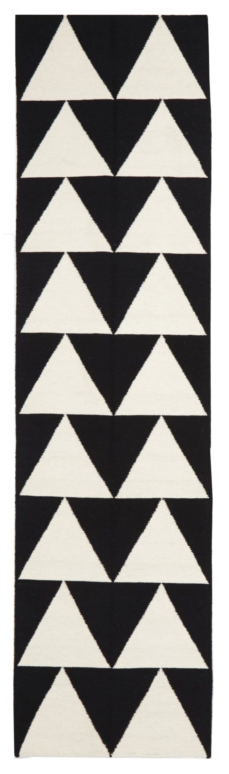 Helsinki Black & White Triangle Flatweave Runner Rug