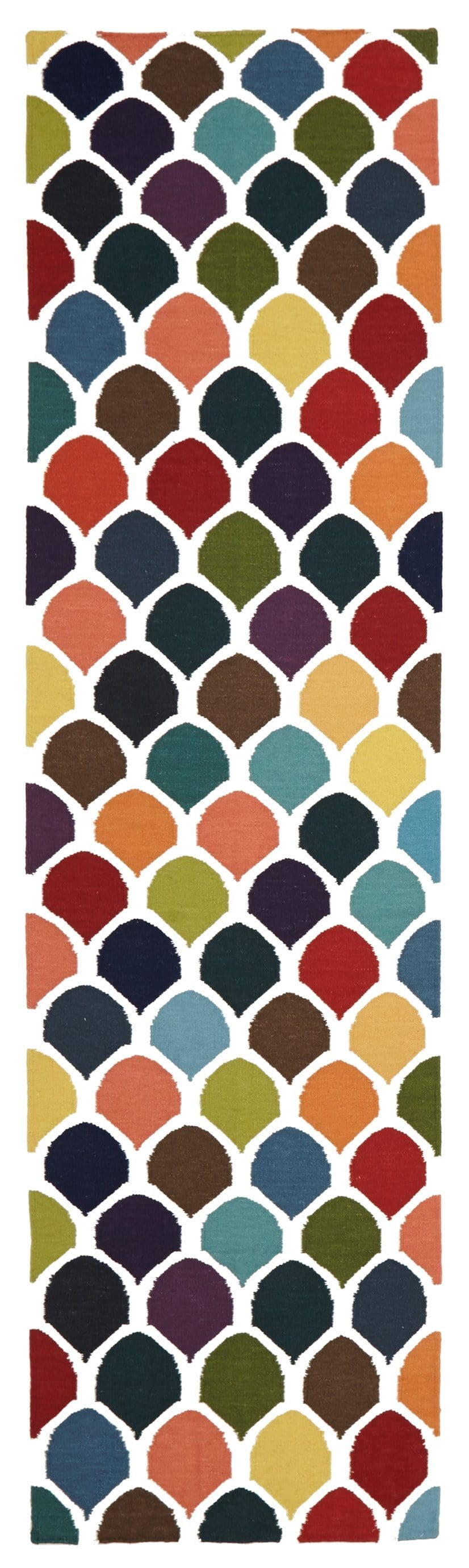 Copenhagen Multi-Coloured Scales Wool Runner Rug