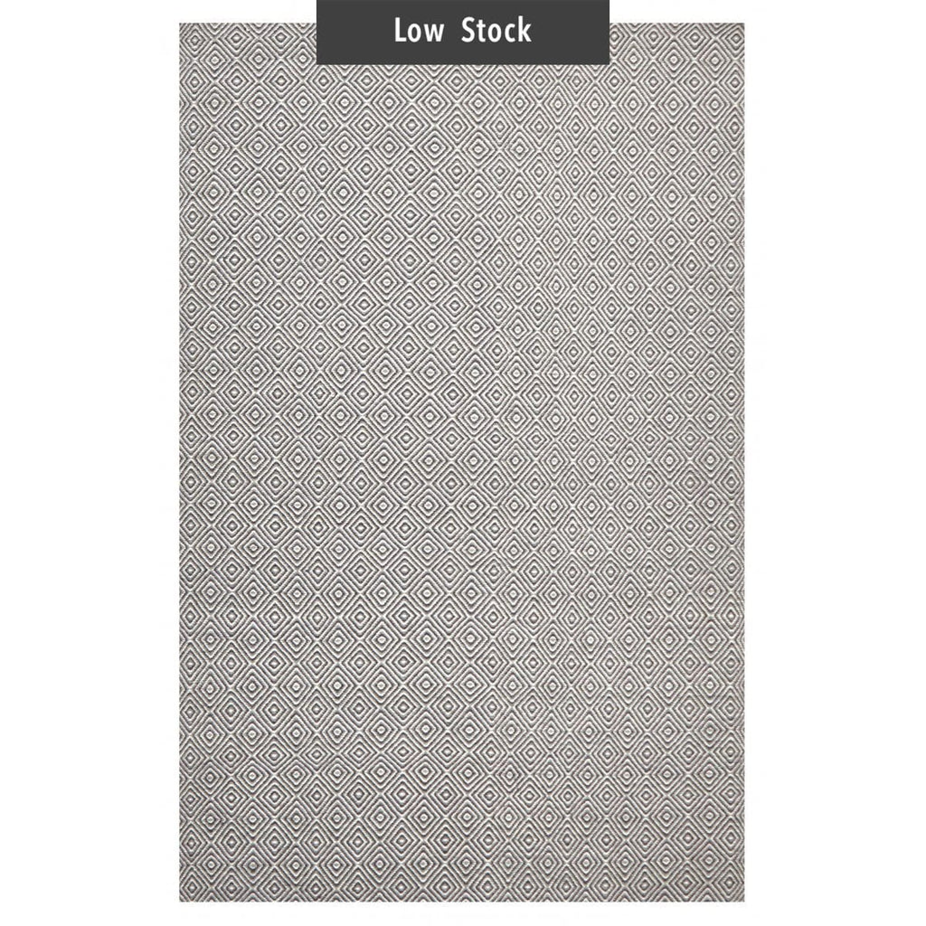 Selfoss Grey Diamond Wool Flatweave Rug (Low Stock)