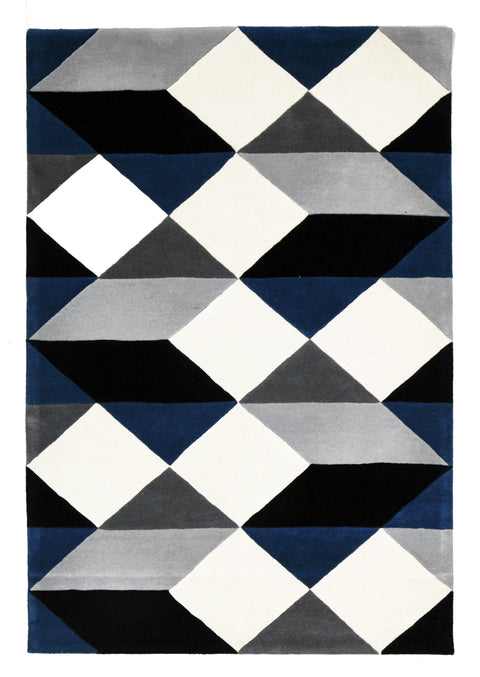 Dresden Navy & Grey Geometric Wool Rug