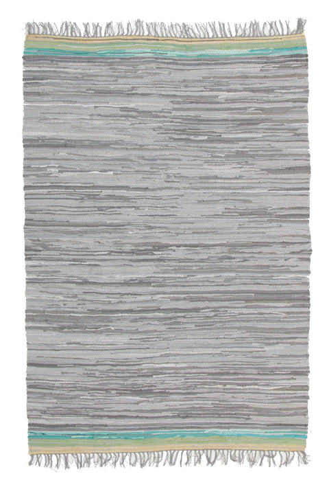 Aquadilla Grey Cotton Fringed Flatweave Rug
