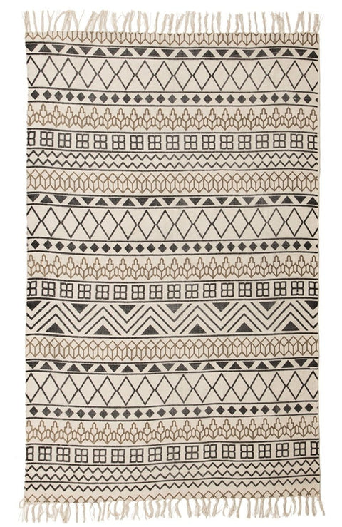 Ruwa Ivory & Black Tribal Cotton Rug