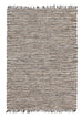 Shimla Black Jute & White Leather Rug