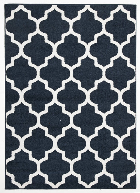 Sancerre Navy Blue Trellis Indoor Outdoor Rug