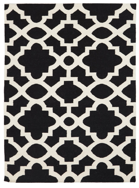 Rennes Black & White Lattice Wool Kilim Rug