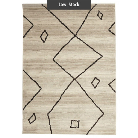 Zagora Cream & Chcolate Tribal Moroccan Rug (Low Stock)
