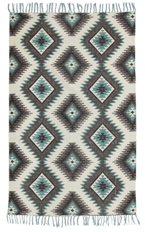 Otse Printed Tribal Fringed Cotton Rug
