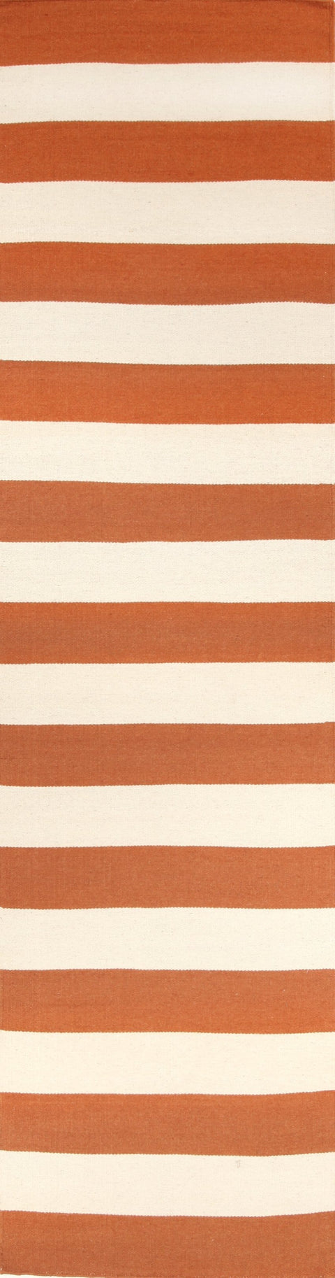 Atrani Orange Awning Stripe Flatweave Runner Rug