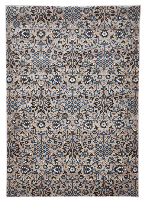 Mersin Beige & Blue Intricate Floral Turkish Rug