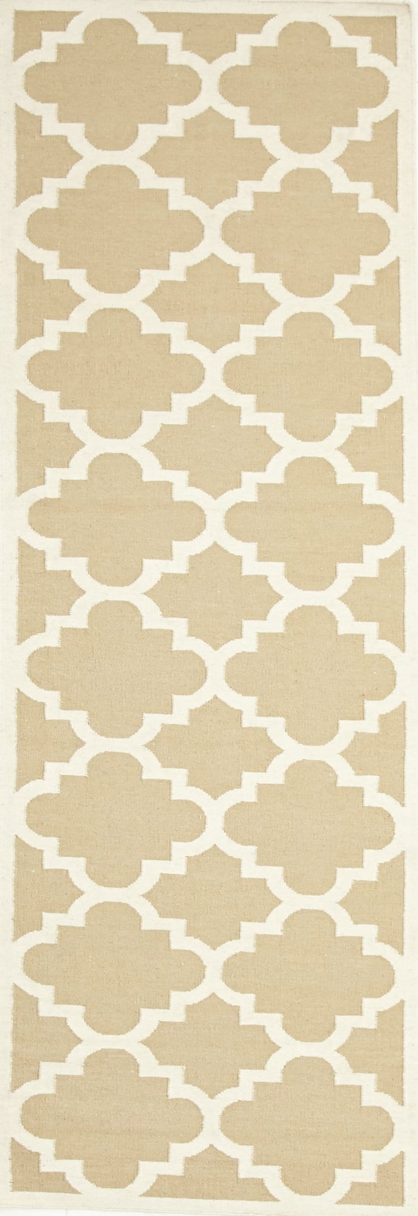 Jerusalem Beige Lattice Flatweave Dhurrie Runner Rug