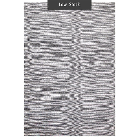 Mölle Blue Grey Herringbone Wool Flatweave Rug (Low Stock)