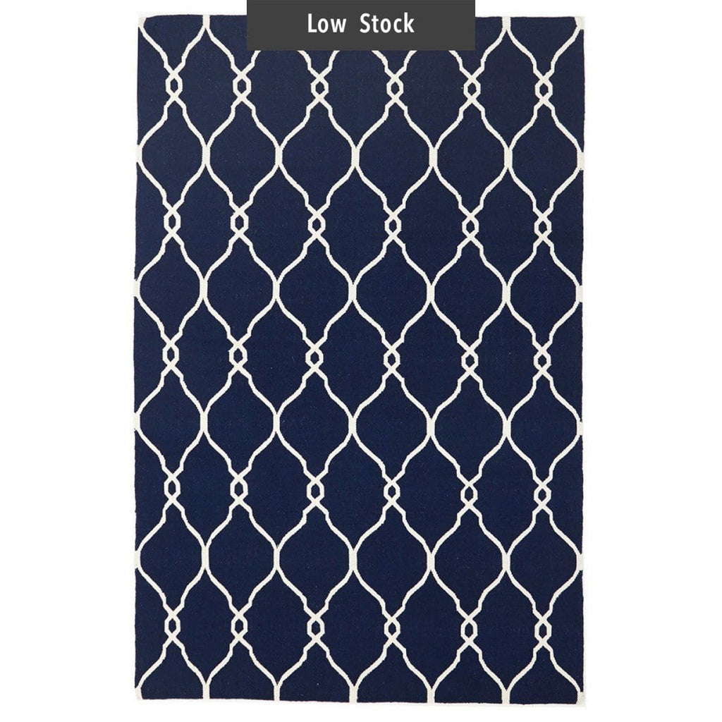 Roscoff Navy Blue Flatweave Wool Kilm Rug (Low Stock)