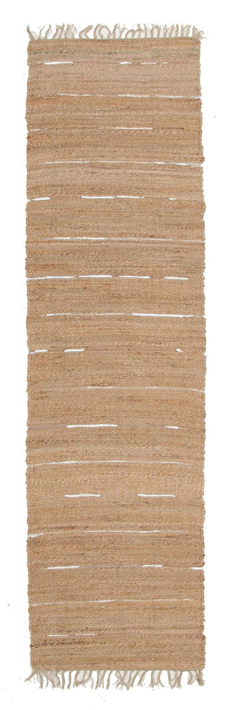 Thar Natural Jute Amp Metallic Leather Runner Rug