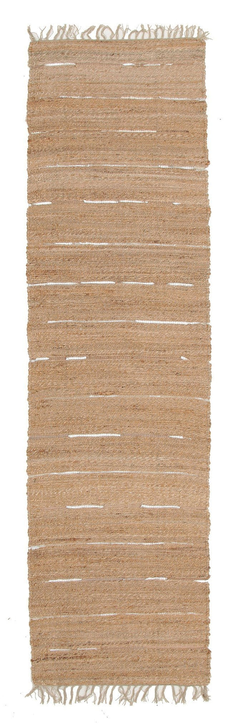 Thar Natural Jute & Metallic Leather Runner Rug