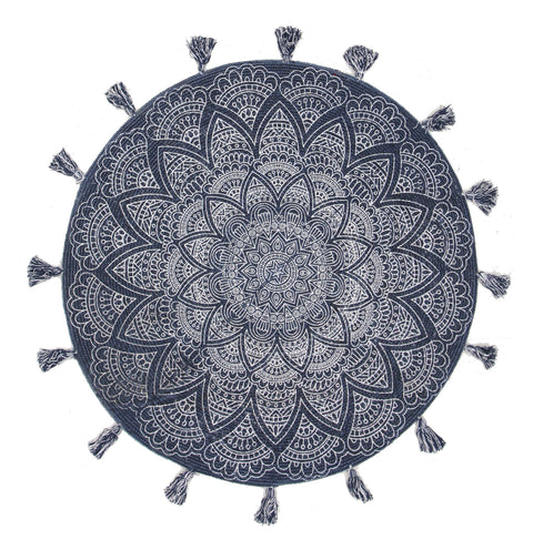 Romani Navy Blue & White Tasseled Round Rug
