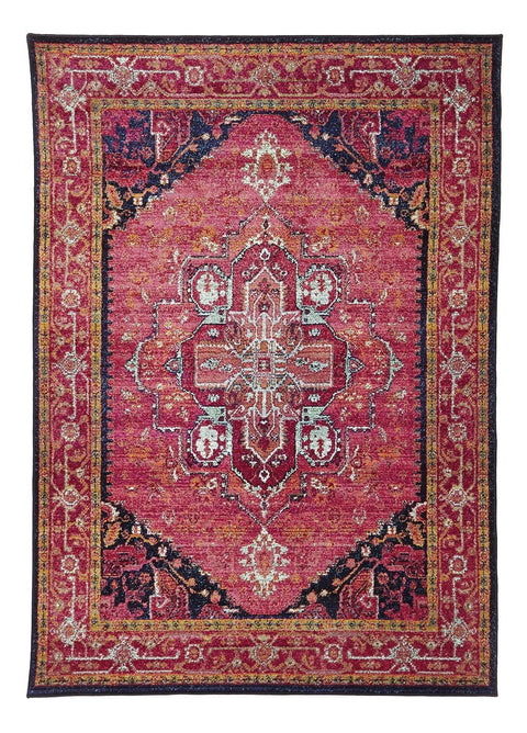 Idfu Pink Egyptian Overdyed Floor Rug
