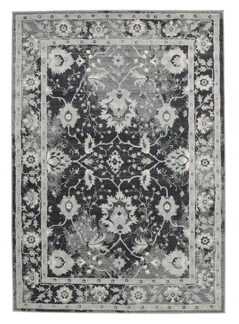 Adana Navy Grey Persian Floral Motif Transitional Rug