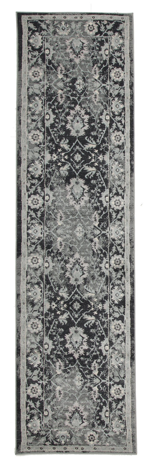 Adana Navy Grey Persian Floral Motif Transitional Runner