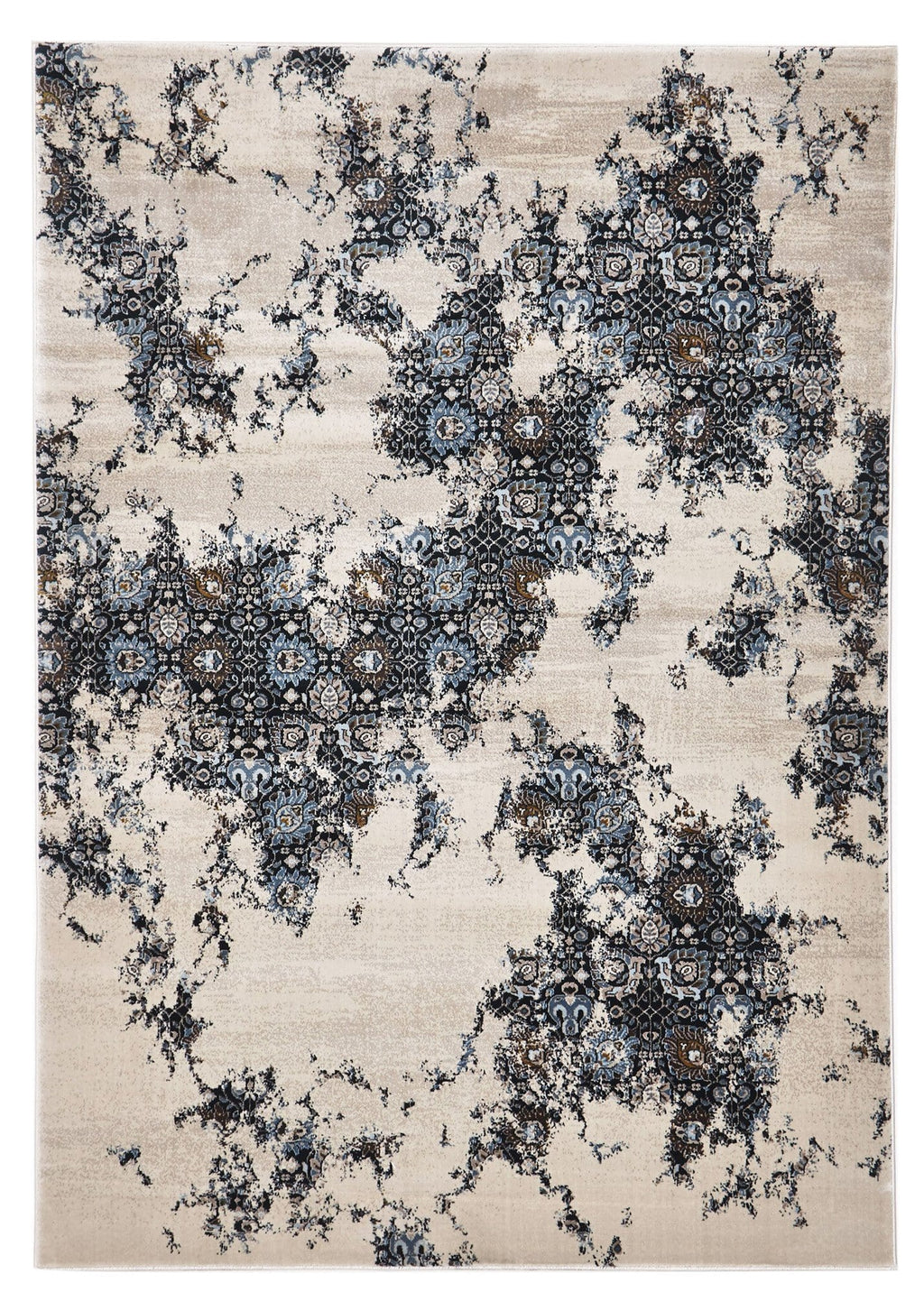 Antalya Blue & Cream Overdyed Tribal Turksih Rug