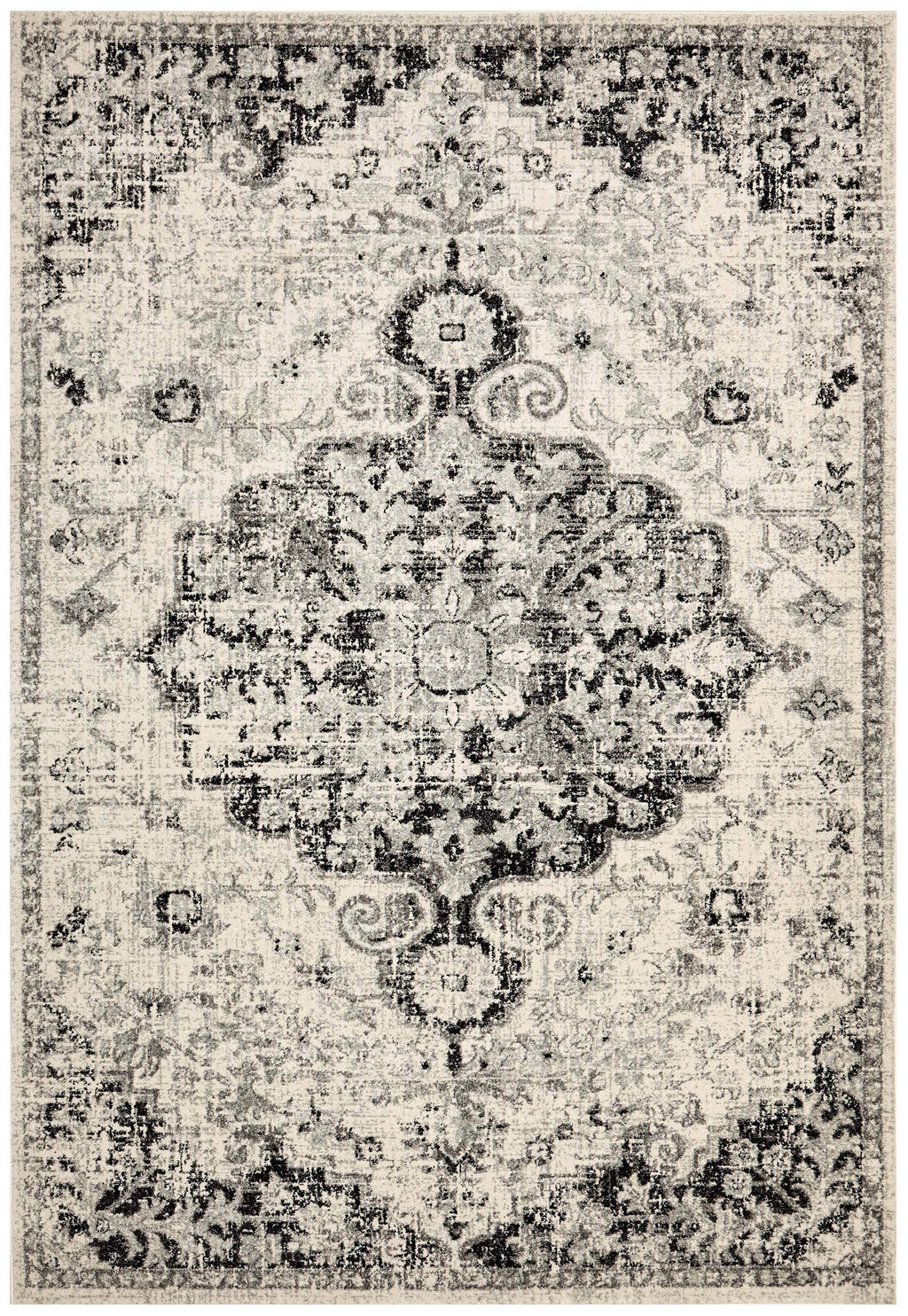Agdash Cream & Black Antique Look Medallion Rug
