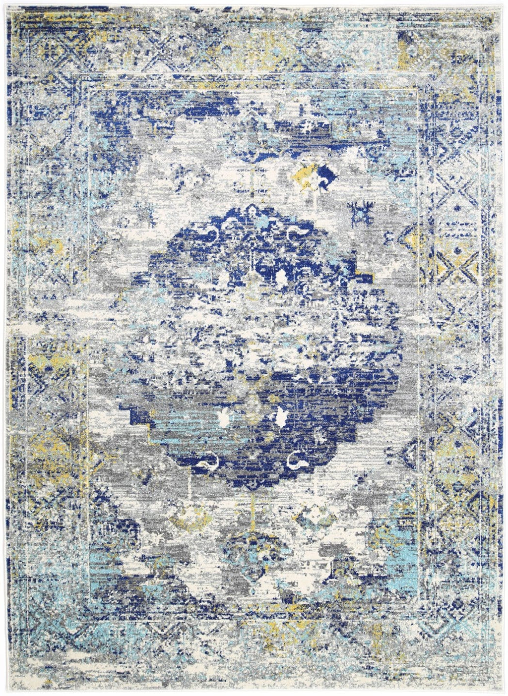 Ahras Grey and Blue Medallion Distressed Rug